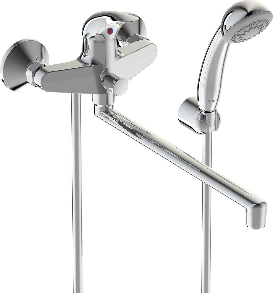 Смеситель для ванны Vidima Орион, излив 320 ммBA005AAСмеситель для ванны Vidima Орион имеет корпус и излив из 100% латуни. Изделие устанавливается на стену. Система облегченного монтажа SmartFix обеспечивает комфорт во время установки и надежность эксплуатации. Монтаж производится на стандартных эксцентриках (в комплекте: эксцентрики, металлические отражатели, уплотнительные прокладки). Смеситель снабжен трубчатым поворотным изливом с углом поворота на 360° и аэратором Perlator. Металлическая рукоятка имеет систему защиты от нагревания Comfort Touch и индикатор холодной/горячей воды. Душевой гарнитур в комплекте (душевая лейка, металлический шланг, держатель для лейки). Переключение ванна/душ осуществляется вручную. Технические характеристики: Высота излива: 320 мм. Расстояние от стены до аэратора: 388 мм. Керамический картридж: 35 мм. Диаметр душевой лейки: 70 мм. Длина металлического шланга: 150 см.
