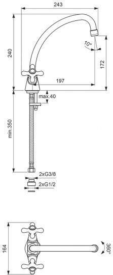 """Смеситель для кухни Vidima """"Ретро"""" имеет корпус и излив из  100% латуни. Изделие устанавливается на раковину. Система  усиленной фиксации StrongFix обеспечивает прочность и  надежность эксплуатации. Дополнительная монтажная  накладка из специального высокопрочного материала для  более прочной установки на стальной мойке.  Смеситель снабжен трубчатым поворотным J-изливом с  углом поворота на 360° и аэратором Perlator. Керамические  кранбуксы производства Германии поворачиваются на 180°.  Металлические рукоятки имеют систему защиты от  нагревания Comfort Touch и индикатор холодной/горячей  воды. В комплекте переходник и удлиненные шланги.   Технические характеристики:  Высота излива: 197 мм.  Подводка гибкая: G3/8"""