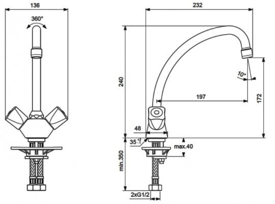 """Смеситель для кухни Vidima """"Практик"""" имеет корпус и излив из 100% латуни. Изделие устанавливается на раковину. Система усиленной фиксации StrongFix обеспечивает прочность и надежность эксплуатации. Дополнительная пластиковая монтажная накладка предназначена для лучшей установки на стальной мойке.  Смеситель снабжен трубчатым J-изливом с углом поворота на 360° и аэратором Perlator. Керамические кранбуксы производства Германии поворачиваются на 180°. Рукоятки имеет систему защиты от нагревания Comfort Touch и индикатор холодной/горячей воды. В комплекте гибкие съемные шланги.  Технические характеристики:  Высота излива: 197 мм.  Подводка гибкая: G1/2"""