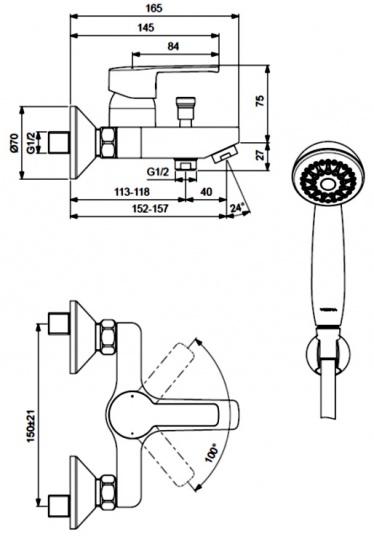 """Смеситель для ванны и душа Vidima """"Уно"""" имеет корпус и излив из 100% латуни. Изделие устанавливается на стену. Система облегченного монтажа SmartFix обеспечивает комфорт во время установки и надежность эксплуатации. Монтаж производится на стандартных эксцентриках (в комплекте: эксцентрики, металлические отражатели, уплотнительные прокладки).  Смеситель снабжен литым изливом и аэратором Perlator. Металлическая рукоятка имеет систему защиты от нагревания Comfort Touch и индикатор холодной/горячей воды.  Душевой гарнитур в комплекте (душевая лейка, металлический шланг, держатель для лейки). Переключение ванна/душ ручное. Возможность использовать функцию """"душ"""" даже при очень низком давлении воды.  Технические характеристики:  Расстояние от стены до аэратора: 157 мм.  Керамический картридж: 35 мм.  Диаметр душевой лейки: 70 мм.  Длина шланга: 150 см."""