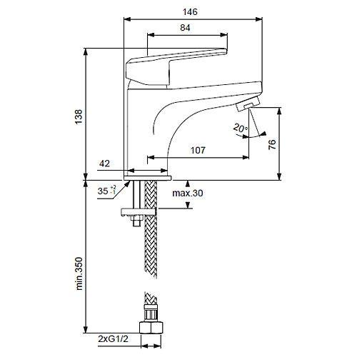 """Смеситель для умывальника Vidima """"Баланс"""" имеет корпус и  излив из 100% латуни. Изделие устанавливается на раковину.  Система облегченного монтажа EasyFix обеспечивает  комфорт во время установки и надежность эксплуатации.  Смеситель снабжен литым изливом и аэратором Perlator.  Металлическая рукоятка имеет систему защиты от  нагревания Comfort Touch и индикатор холодной/горячей  воды. Среди других особенностей - возможность установки  донного клапана. Гибкие съемные шланги входят в комплект.   Технические характеристики:  Высота излива: 107 мм.  Керамический картридж: 35 мм.  Подводка гибкая: G1/2"""