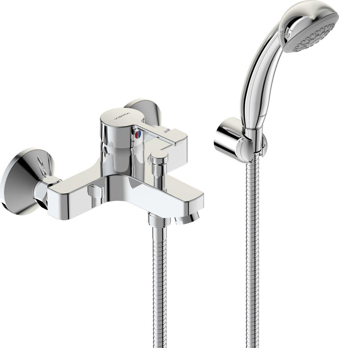 Смеситель для ванны и душа Vidima Логик, излив 152-157 ммBA279AAСмеситель для ванны и душа Vidima Логик имеет корпус и излив из 100% латуни. Изделие устанавливается на стену. Система облегченного монтажа SmartFix обеспечивает комфорт во время установки и надежность эксплуатации. Монтаж производится на стандартных эксцентриках (в комплекте: эксцентрики, металлические отражатели, уплотнительные прокладки). Смеситель снабжен литым изливом и аэратором Perlator. Металлическая рукоятка имеет систему защиты от нагревания Comfort Touch и индикатор холодной/горячей воды. Душевой гарнитур в комплекте (душевая лейка, металлический шланг, держатель для лейки). Переключение ванна/душ ручное. Возможность использовать функцию душ даже при очень низком давлении воды. Технические характеристики: Высота излива: 152-157 мм. Расстояние от стены до аэратора: 157 мм. Керамический картридж: 35 мм. Диаметр душевой лейки: 70 мм. Длина шланга: 150 см.