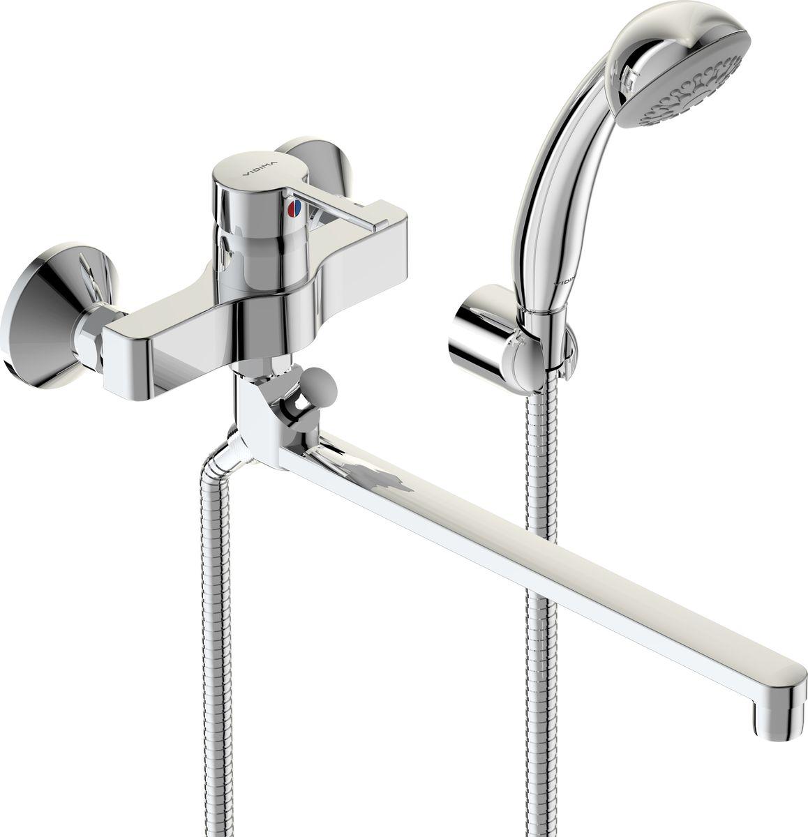 Смеситель для ванны и душа Vidima Логик, излив 320 ммBA281AAСмеситель для ванны и душа Vidima Логик имеет корпус и излив из 100% латуни. Изделие устанавливается на стену. Система облегченного монтажа SmartFix обеспечивает комфорт во время установки и надежность эксплуатации. Монтаж производится на стандартных эксцентриках (в комплекте: эксцентрики, металлические отражатели, уплотнительные прокладки). Смеситель снабжен трубчатым изливом с углом поворота на 360° и аэратором Perlator. Металлическая рукоятка имеет систему защиты от нагревания Comfort Touch и индикатор холодной/горячей воды. Душевой гарнитур в комплекте (душевая лейка, металлический шланг, держатель для лейки). Переключение ванна/душ ручное. Возможность использовать функцию душ даже при очень низком давлении воды. Технические характеристики: Высота излива: 320 мм. Расстояние от стены до аэратора: 381 мм. Диаметр душевой лейки: 70 мм. Длина шланга: 150 см.
