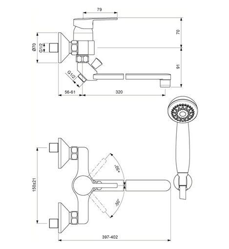 """Смеситель для ванны и душа Vidima """"Логик"""" имеет корпус и излив из 100% латуни. Изделие устанавливается на стену. Система облегченного монтажа SmartFix обеспечивает комфорт во время установки и надежность эксплуатации. Монтаж производится на стандартных эксцентриках (в комплекте: эксцентрики, металлические отражатели, уплотнительные прокладки).  Смеситель снабжен трубчатым изливом с углом поворота на 360° и аэратором Perlator. Металлическая рукоятка имеет систему защиты от нагревания Comfort Touch и индикатор холодной/горячей воды.  Душевой гарнитур в комплекте (душевая лейка, металлический шланг, держатель для лейки). Переключение ванна/душ ручное. Возможность использовать функцию """"душ"""" даже при очень низком давлении воды.  Технические характеристики:  Высота излива: 320 мм.  Расстояние от стены до аэратора: 381 мм.  Диаметр душевой лейки: 70 мм.  Длина шланга: 150 см."""