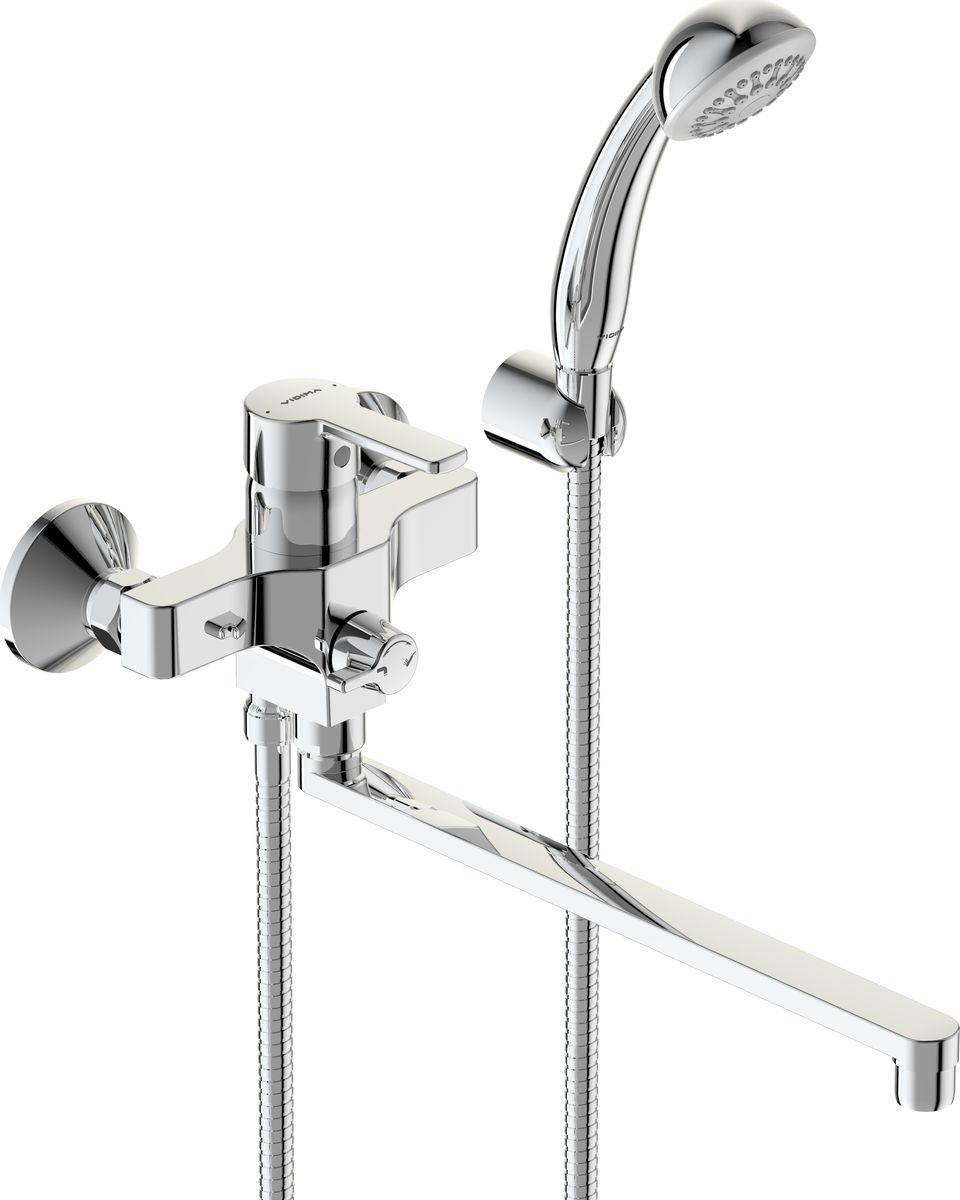 Смеситель для ванны Vidima Видима Уно, с поворотным изливом, цвет: хромBA320AAСмеситель для ванны Vidima Видима Уно изготовлен из высококачественной латуни. Инновационные технологии литья и обработки латуни, а также увеличенная толщина стенок смесителя обеспечивают его стойкость к перепадам давления и температур.Покрытие полностью соответствует европейским стандартам качества, обеспечивает его стойкость и зеркальный блеск в течение всего срока службы изделия.Массажная душевая лейка и шланг изготовлены с шаровым переключением. Смеситель имеет поворотный излив 32 см. В комплект входят: душевая лейка, шланг и крепления.