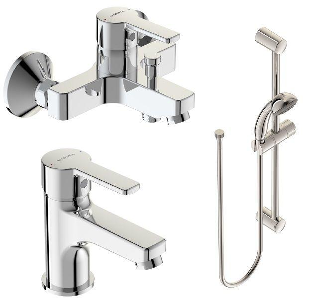 Набор для ванной Vidima Уно, 3 предметаBA376AAНабор Vidima Уно включает в себя смеситель для умывальника, смеситель для ванны/душа и душевой набор со штангой. Корпусное тело и излив каждого смесителя состоят на 100% из латуни высочайшего качества, что обеспечивает дополнительную безопасность для здорового человека.Смеситель для ванны/душа:Установка: на стену.Система облегченного монтажа.SmartFix.Монтаж на стандартных эксцентриках (в комплекте эксцентрики, металлические отражатели, уплотнительные прокладки).Материал корпуса и излива: 100% латунь.Литой излив.Расстояние от стены до аэратора: 157 мм.Аэратор Perlator.Керамический картридж 35 мм.Металлическая рукоятка.Система защиты рукоятки от нагревания.Comfort Touch.Индикатор холодной/горячей воды.Переключение ванна/душ: ручное.Смеситель для умывальника:Установка: на раковину.Система облегченного монтажа.EasyFix.Материал корпуса и излива: 100% латунь.Литой излив.Длина излива: 84 мм.Аэратор Perlator.Керамический картридж 35 мм.Металлическая рукоятка.Система защиты рукоятки от нагревания.Comfort Touch.Гибкие шланги: 40 см.Съемные шланги.Возможность установки нажимного донного клапана.Душевая лейка:Диаметр душевой лейки: 70 мм.Количество функций: 1.Режим струи душевой лейки: дождь.Металлический шланг: 1500 мм.Штанга: 600 мм, диаметр 19 мм.Фиксатор душевой лейки.Пластиковые держатели.Регулировка наклона душевой лейки.
