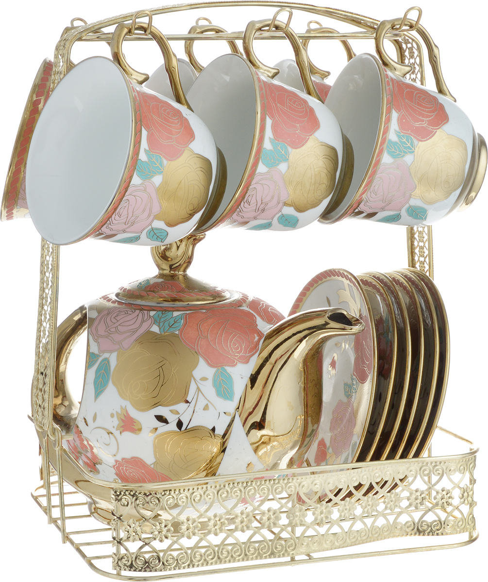 """Чайный набор """"Loraine"""" состоит из 6 чашек, 6 блюдец, заварочного чайника и подставки. Посуда изготовлена из качественной глазурованной керамики и оформлена изображением цветов. Все предметы располагаются на удобной металлической подставке с ручкой. Подставка имеет сборную конструкцию (при необходимости ручку можно снять). Элегантный дизайн набора придется по вкусу и ценителям классики, и тем, кто предпочитает современный стиль. Он настроит на позитивный лад и подарит хорошее настроение с самого утра. Чайный набор """"Loraine"""" идеально подойдет для сервировки стола и станет отличным подарком к любому празднику. Можно использовать в СВЧ и мыть в посудомоечной машине. Объем чашки: 250 мл (при наполнении до края). Диаметр чашки (по верхнему краю): 9 см. Высота чашки: 7 см. Диаметр блюдца: 13,2 см. Высота блюдца: 1,5 см.Объем чайника: 950 мл.                     Размер чайника: 21 х 10 х 11,5 см. Размер подставки: 22,5 х 18 х 27 см."""