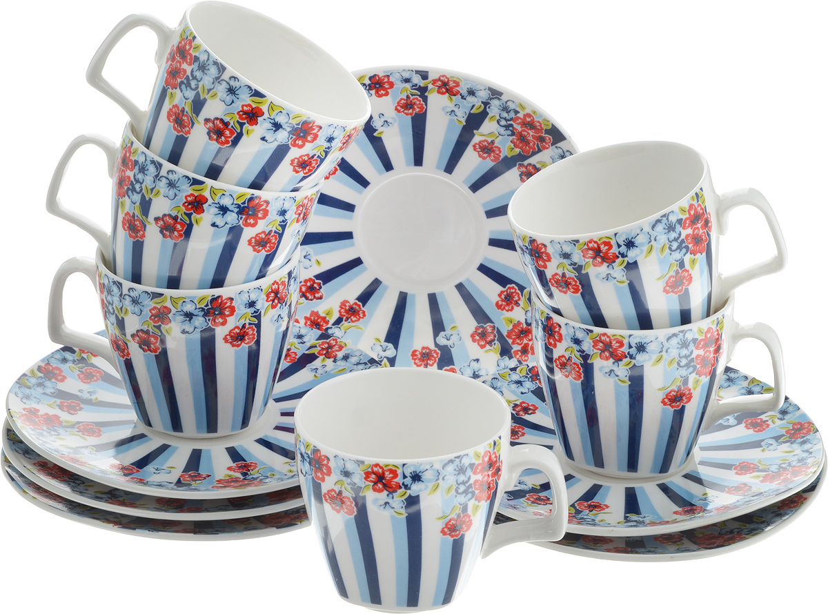 Набор кофейный Loraine Цветок, 12 предметов24754Кофейный набор Loraine Цветок состоит из 6 чашек и 6 блюдец, выполненных из высококачественного фарфора. Изящный дизайн придется по вкусу и ценителям классики, и тем, кто предпочитает утонченность и изысканность. Он настроит на позитивный лад и подарит хорошее настроение с самого утра. Набор упакован в стильную подарочную коробку. Внутренняя часть коробки задрапирована белой атласной тканью. Каждый предмет надежно зафиксирован внутри коробки, благодаря специальным выемкам. Кофейный набор Loraine Цветок - идеальный и необходимый подарок для вашего дома и для ваших друзей в праздники, юбилеи и торжества! Он также станет отличным корпоративным подарком и украшением любой кухни.Диаметр блюдца: 12 см.Высота блюдца: 1,5 см.Диаметр чашки (по верхнему краю): 6 см.Высота чашки: 6 см.Объем чашки: 80 мл.