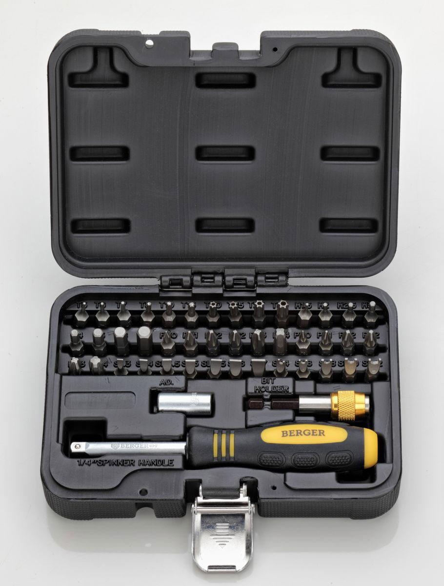 Набор бит Berger, 1/4, 45 предметовBG-45SBНабор бит Berger предназначен для монтажа/демонтажа резьбовых соединений при проведении слесарно-монтажных работ. В наборе 42 биты, изготовленные из высококачественной стали. Также в набор входит отвертка с присоединительным квадратом, адаптер для бит и адаптер для шуруповерта.Набор поставляется в небольшом пластиковом кейсе.Состав набора:Отвертка с присоединительным квадратом.Адаптер для бит.Адаптер для шуруповерта.Биты: T5, T6, T7, T8, T10, T15, T20, T25, T27, T30, H1,5, H2, H2,5, H3, H4, H5, H6, H7, PH0, PH1, PH2 x 2, PH3, PH4, PZ0, PZ1, PZ2 x 2, PZ3, PZ4, SL3, SL4, SL4,5, SL5, SL5,5, SL6, SL7, SP4, SP6, SP8, SP10, SP12.