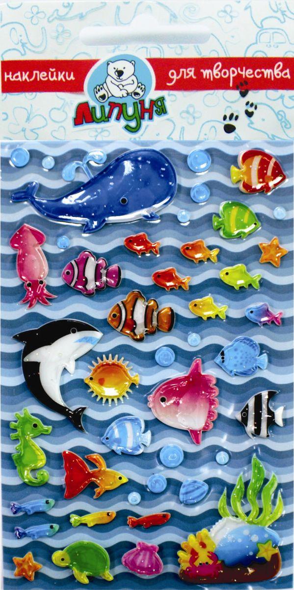 """Мягкие пластиковые наклейки с воздушным наполнением Липуня """"Море"""". Приятные на ощупь.   Многократное переклеивание без потери качества! Не оставляют следов на одежде!"""