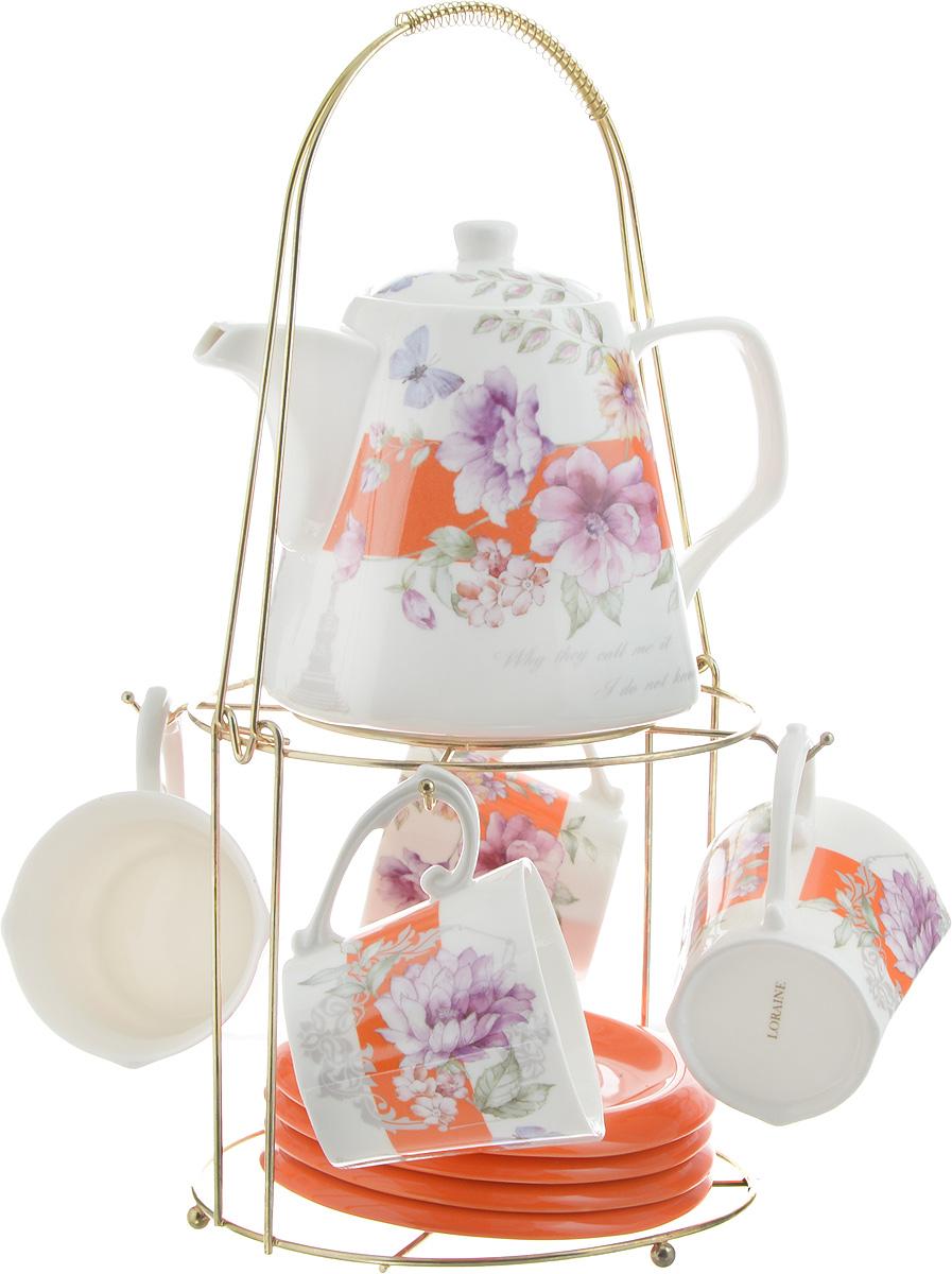 Набор чайный Loraine, на подставке, 10 предметов. 2473524735Чайный набор Loraine состоит из 4 чашек, 4 блюдец, заварочного чайника и подставки. Посуда изготовлена из качественной глазурованной керамики и оформлена изображением цветов. Блюдца и чашки имеют необычную фигурную форму. Все предметы располагаются на удобной металлической подставке с ручкой.Элегантный дизайн набора придется по вкусу и ценителям классики, и тем, кто предпочитает современный стиль. Он настроит на позитивный лад и подарит хорошее настроение с самого утра. Чайный набор Loraine идеально подойдет для сервировки стола и станет отличным подарком к любому празднику. Можно использовать в СВЧ и мыть в посудомоечной машине. Объем чашки: 250 мл. Размеры чашки (по верхнему краю): 8,5 х 8,2 см. Высота чашки: 7,5 см. Диаметр блюдца: 14 см. Высота блюдца: 1,5 см.Объем чайника: 1,1 л. Размер чайника (без учета ручки и носика): 13 х 13 х 13 см. Размер подставки: 18 х 18 х 37 см.