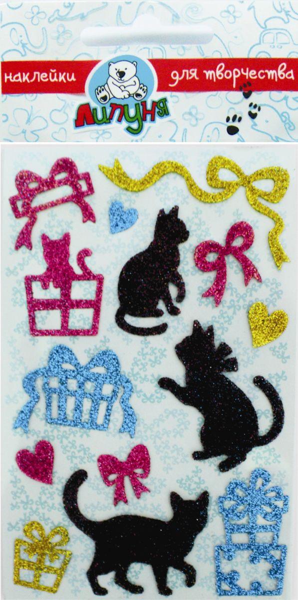 """Наклейки с блестками Липуня """" Кошки и Подарки"""" с высоким качеством печати, мягкие на ощупь. Можно наклеивать на сумки, пеналы, тетради и т.п. Многократное переклеивание без потери качества!"""