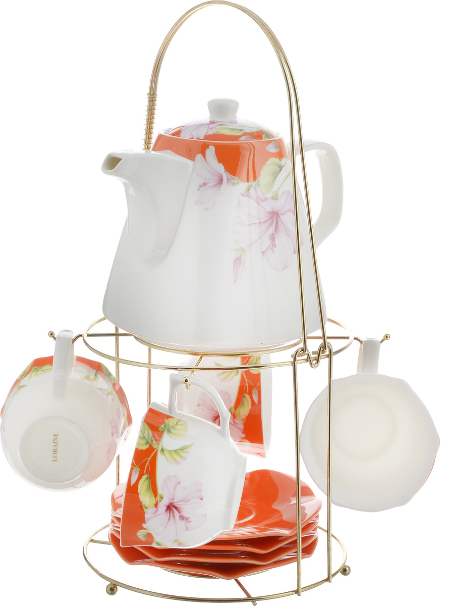 Набор чайный Loraine, на подставке, 10 предметов. 2473924739Чайный набор Loraine состоит из 4 чашек, 4 блюдец, заварочного чайника и подставки. Посуда изготовлена из качественной глазурованной керамики и оформлена изображением цветов. Блюдца и чашки имеют необычную фигурную форму. Все предметы располагаются на удобной металлической подставке с ручкой. Элегантный дизайн набора придется по вкусу и ценителям классики, и тем, кто предпочитает современный стиль. Он настроит на позитивный лад и подарит хорошее настроение с самого утра. Чайный набор Loraine идеально подойдет для сервировки стола и станет отличным подарком к любому празднику. Можно использовать в СВЧ и мыть в посудомоечной машине. Объем чашки: 250 мл. Размеры чашки (по верхнему краю): 8,7 х 9 см. Высота чашки: 6,2 см. Диаметр блюдца: 14 см. Высота блюдца: 1,5 см.Объем чайника: 1,1 л. Размер чайника (без учета ручки и носика): 13 х 13 х 13 см. Размер подставки: 18 х 18 х 37 см.