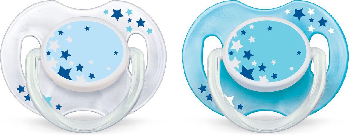 Philips Avent Пустышка серия Night SCF176/18 звезды, голубая, белая, 2 шт., 0-6 мес. пустышка philips scf172 15