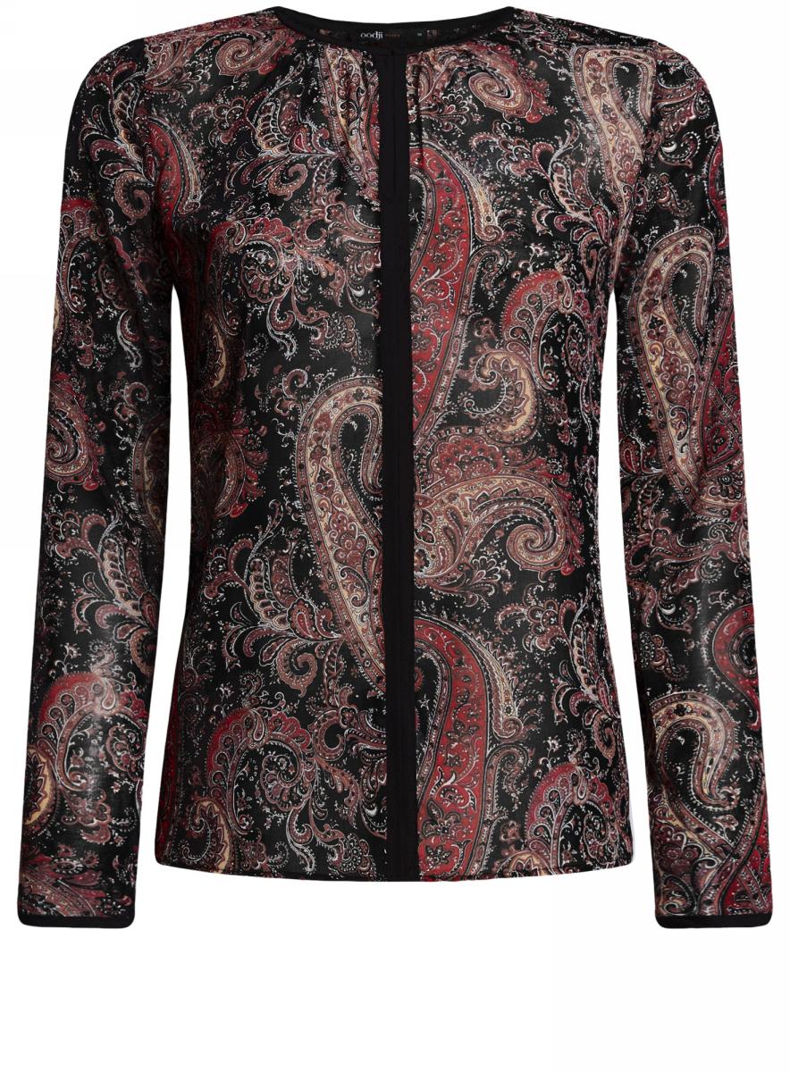 Блуза женская oodji Ultra, цвет: черный, хаки. 11411059-2/38375/2966E. Размер 42-170 (48-170) блуза oodji oodji oo001ewnwa96