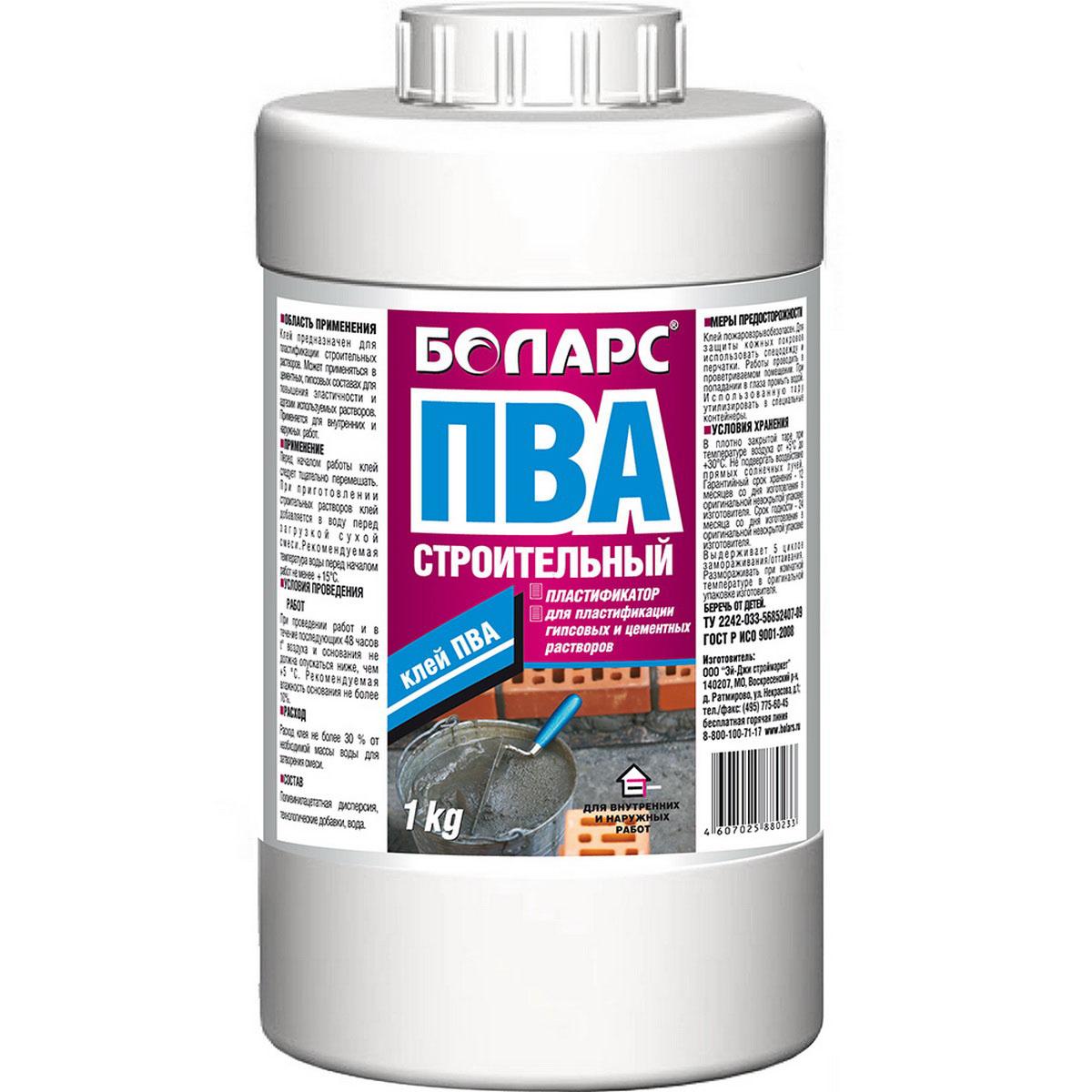 Клей ПВА Боларс, пластификатор, 1 кг00000000435Клей ПВА Боларс предназначен для пластификации строительных растворов. Может применяться в цементных, гипсовых составах для повышения эластичности и адгезии используемых растворов. Подходит для внутренних и наружных работ. Состав: поливинилацетатная дисперсия, технологические добавки, вода.Цвет: белый.pH: 5,5-7,0.Расход: 200-300 г/л.Морозостойкость: 5 циклов.Температура проведения работ: +5°С +30°С.Температура эксплуатации: +5°С +40°С.Размораживать продукт следует при комнатной температуре в оригинальной таре изготовителя. Гарантийный срок хранения – 12 месяцев со дня изготовления, в оригинальной невскрытой упаковке изготовителя.Срок годности – 24 месяца со дня изготовления, в оригинальной невскрытой упаковке изготовителя.