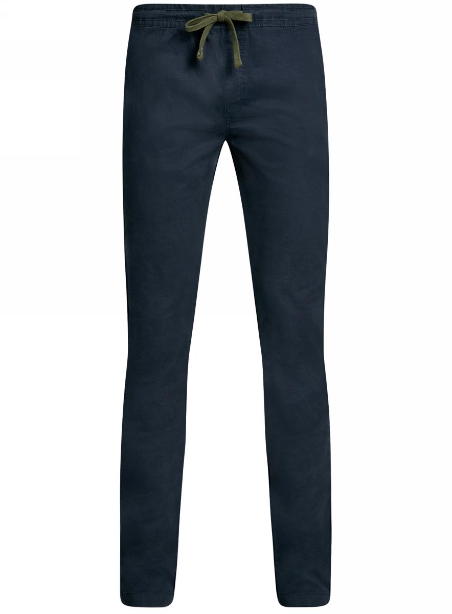 Брюки мужские oodji Lab, цвет: темно-синий. 2L100081M/46238N/7900N. Размер 40-182 (48-182)2L100081M/46238N/7900NМужские брюки oodji Lab выполнены из высококачественного материала. Модель стандартной посадки в поясе дополнена шнурком. Спереди брюки дополнены втачными карманами, сзади - прорезными на пуговицах.