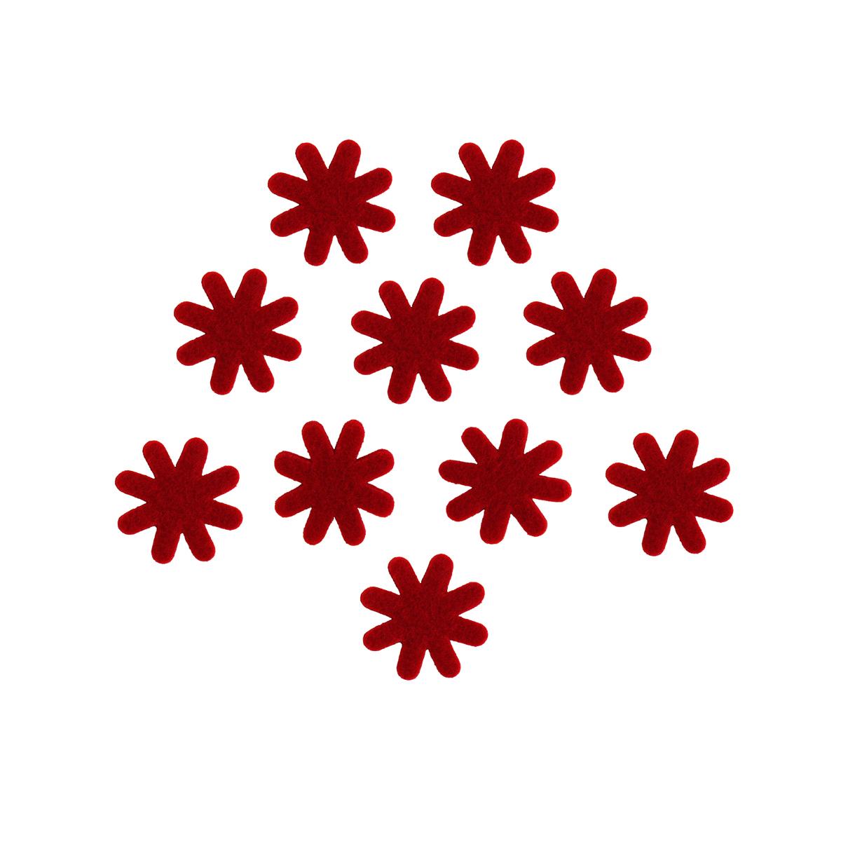 Цветок из фетра Glorex, цвет: красный, 3 см, 12 шт318794