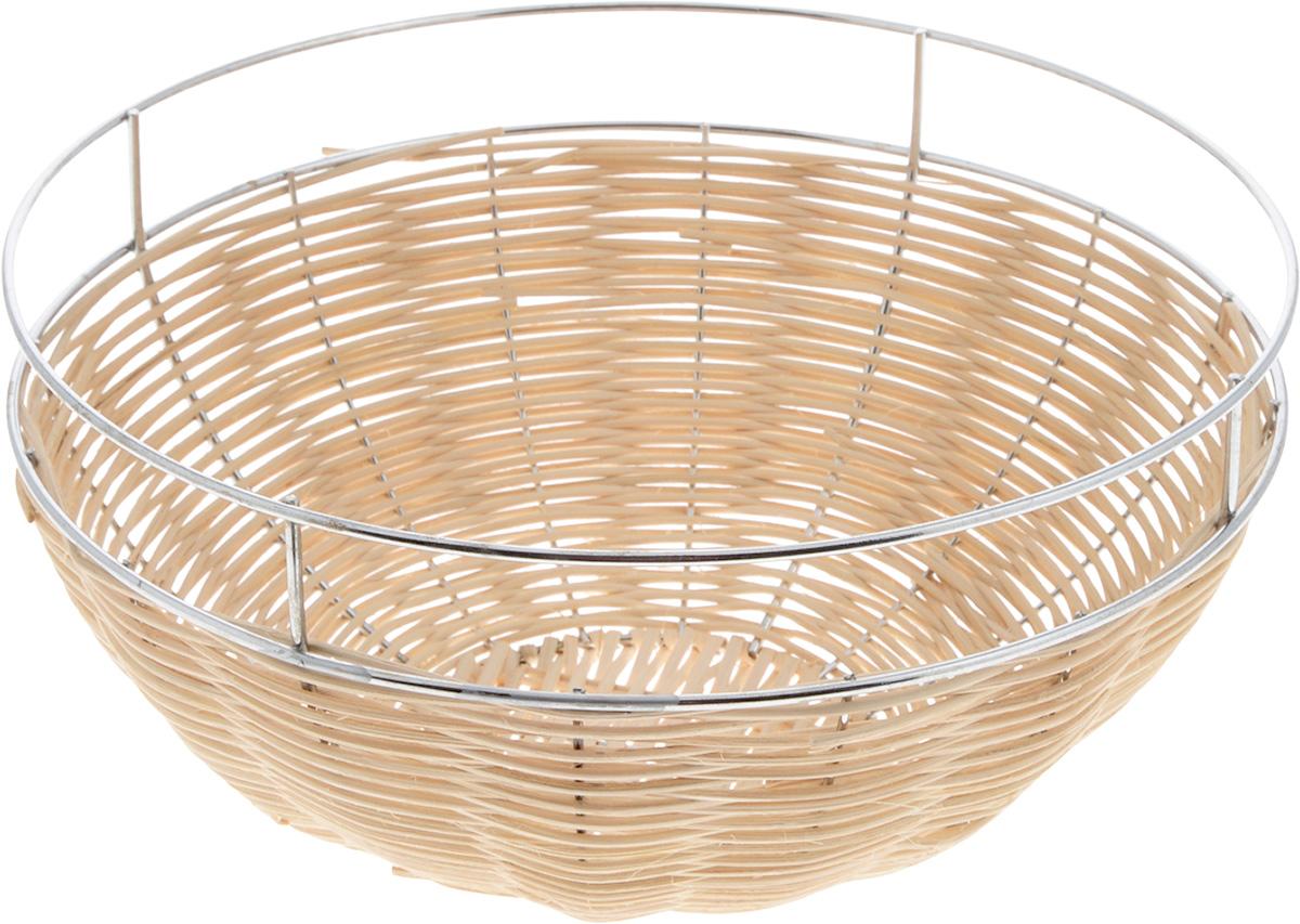 Корзина для фруктов Mayer & Boch, диаметр 27 см. 2094420944Элегантная корзина Mayer & Boch круглой формы, изготовленная из ротанга и высококачественного металла, идеально подойдет для красивой сервировки фруктов, хлеба и других угощений. Корзина Mayer & Boch прекрасно оформит стол и станет чудесным дополнением к вашей кухонной коллекции.Диаметр корзины (по верхнему краю): 27 см.