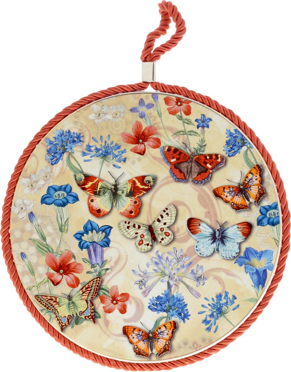 Подставка под горячее Loraine Бабочки, диаметр 17 см24549Круглая подставка под горячее Loraine Бабочки выполнена из высококачественной керамики. Изделие, декорированное красочным изображением, идеально впишется в интерьер современной кухни. Специальное пробковое основание подставки защитит вашу мебель от царапин. Подставка оснащена цветным шнурком с петелькой для подвешивания. Изделие не боится высоких температур и легко чистится от пятен и жира. Каждая хозяйка знает, что подставка под горячее - это незаменимый и очень полезный аксессуар на каждой кухне. Ваш стол будет не только украшен оригинальной подставкой с красивым рисунком, но также вы сможете уберечь его от воздействия высоких температур ваших кулинарных шедевров. Диаметр подставки: 17 см.Высота подставки: 1 см.