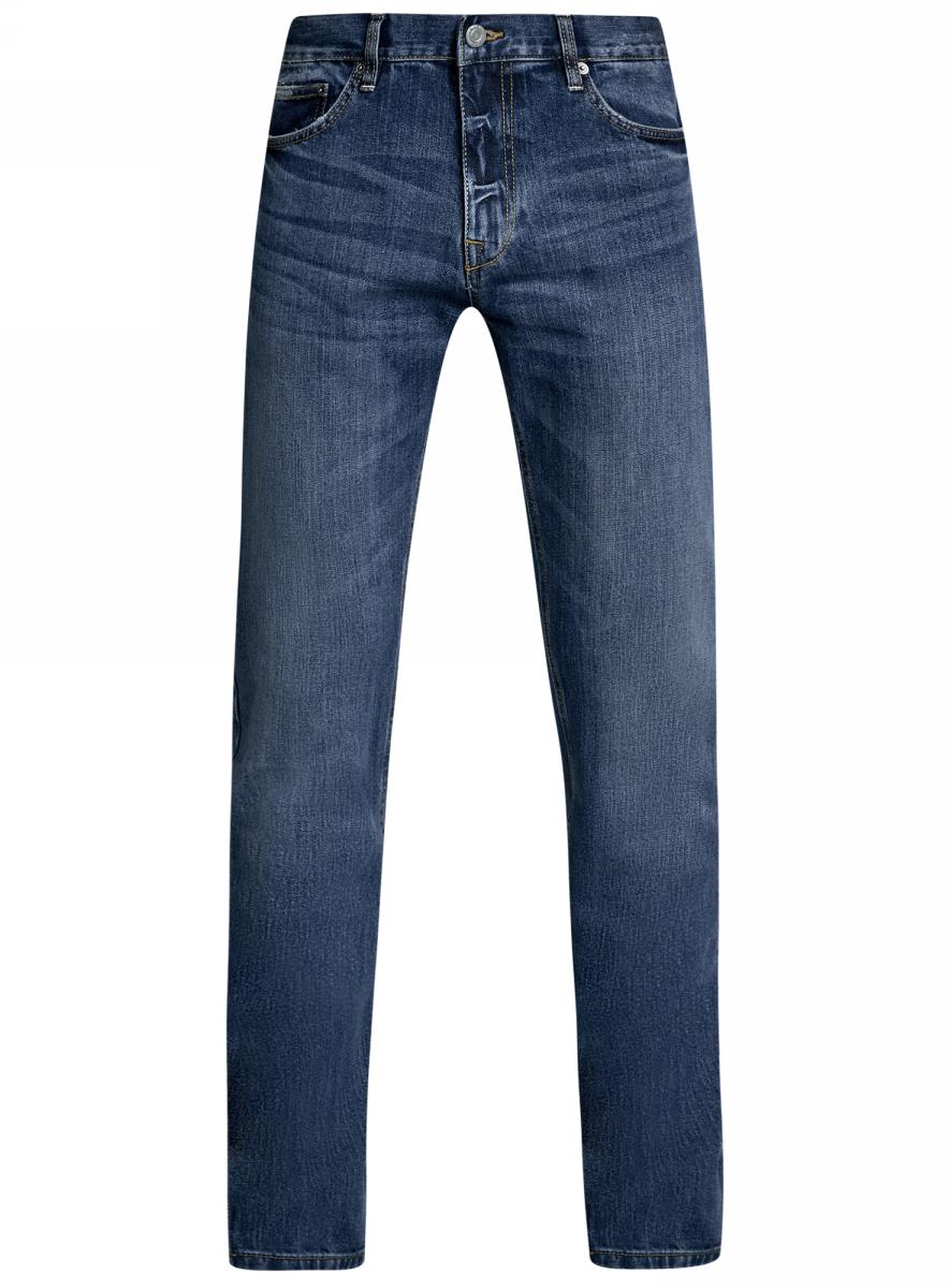 Джинсы мужские oodji Basic, цвет: синий джинс. 6B120046M/46627/7500W. Размер 33-32 (52-32)6B120046M/46627/7500WМужские джинсы oodji Basic выполнены из высококачественного материала. Модель средней посадки по поясу застегивается на пуговицу и имеют ширинку на застежке-молнии, а также шлевки для ремня. Джинсы имеют классический пятикарманный крой: спереди - два втачных кармана и один маленький накладной, а сзади - два накладных кармана.