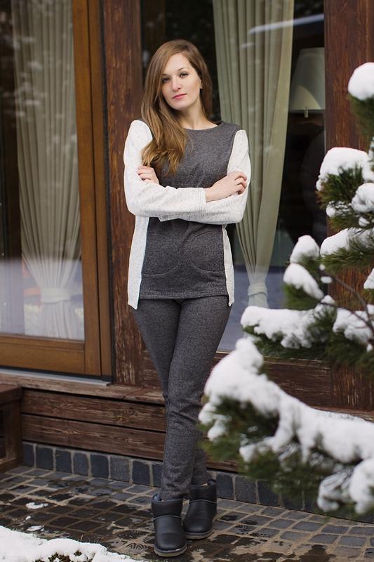 Комплект домашний женский Marusя: кофта, брюки, цвет: черный. 166001. Размер S (44)166001