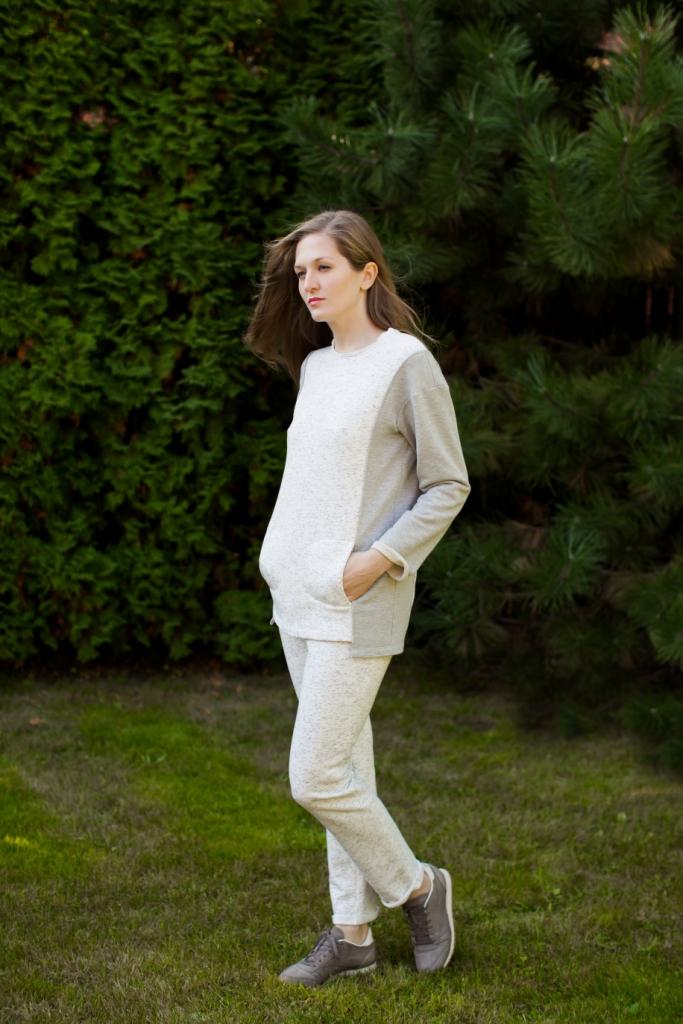 Комплект домашний женский Marusя: кофта, брюки, цвет: белый. 166003. Размер L (48)166003