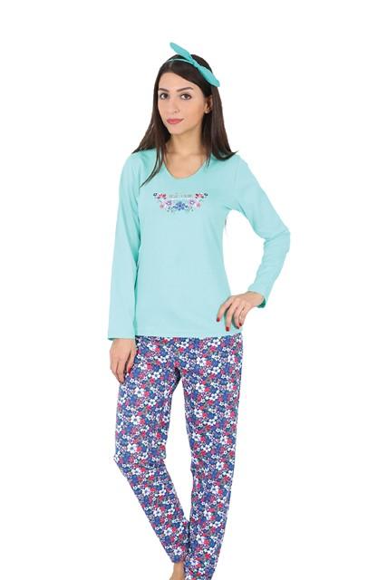 Комплект домашний женский Vienetta's Secret: лонгслив, брюки, цвет: голубой, синий. 509076 5074. Размер XL (50) chic scoop neck sleeveless camo print criss cross two piece swimsuit for women