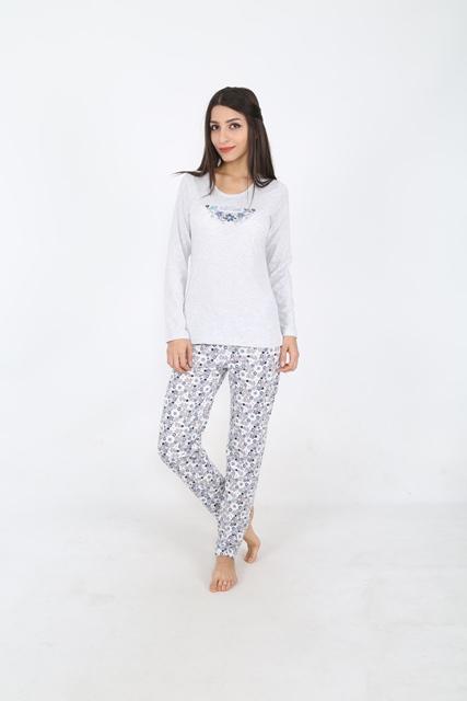 Комплект домашний женский Vienetta's Secret: лонгслив, брюки, цвет: серый меланж. 509076 5074. Размер S (44) домашний комплект для беременных лонгслив брюки