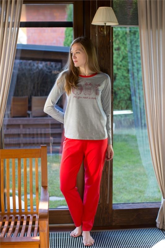 Комплект домашний женский Violett: лонгслив, брюки, цвет: серый, красный. 17150117. Размер S (44)17150117Женский домашний комплект одежды Violett, состоящий из лонгслива и брюк, выполнен из натурального хлопка.Лонгслив с круглым вырезом горловины и длинными рукавами оформлен спереди интересным принтом.Брюки прямого кроя, имеют эластичный пояс на талии и дополнены затягивающимся шнурком.