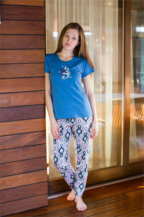 Комплект домашний женский Vienetta's Secret: футболка, брюки, цвет: синий, серый. 509092 5161. Размер XL (50) комплект домашний женский vienetta s secret лонгслив брюки цвет голубой синий 509076 5074 размер xl 50