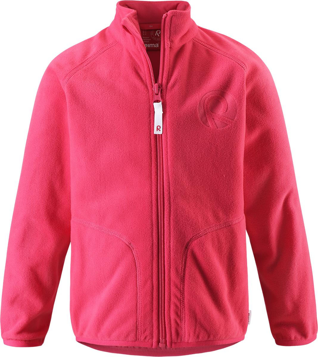 Толстовка флисовая детская Reima Inrun, цвет: розовый. 5262503360. Размер 925262503360Детская флисовая толстовка Reima на прохладный день. Можно использовать как верхнюю одежду в сухую погоду весной и осенью или поддевать в качестве промежуточного слоя в холода. Обратите внимание на удобную систему кнопок Play Layers, с помощью которой легко присоединить кофту к одежде из серии Reima Play Layers и обеспечить ребенку дополнительное тепло и комфорт. Высококачественный флис - это теплый, легкий и быстросохнущий материал, он идеально подходит для активных прогулок. Удлиненная спинка обеспечивает дополнительную защиту для поясницы, а молния во всю длину с защитой для подбородка облегчает надевание.