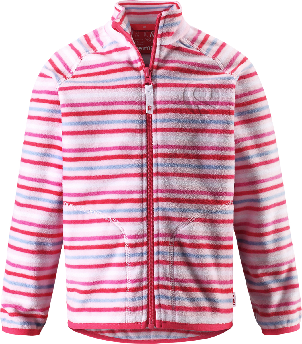 Толстовка флисовая детская Reima Inrun, цвет: розовый, белый. 5262504011. Размер 1345262504011Детская флисовая толстовка Reima на прохладный день. Можно использовать как верхнюю одежду в сухую погоду весной и осенью или поддевать в качестве промежуточного слоя в холода. Обратите внимание на удобную систему кнопок Play Layers, с помощью которой легко присоединить кофту к одежде из серии Reima Play Layers и обеспечить ребенку дополнительное тепло и комфорт. Высококачественный флис - это теплый, легкий и быстросохнущий материал, он идеально подходит для активных прогулок. Удлиненная спинка обеспечивает дополнительную защиту для поясницы, а молния во всю длину с защитой для подбородка облегчает надевание.