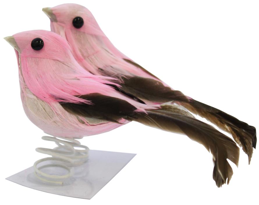 """Декоративный элемент """"Птичка"""", цвет: розовый, 2 шт"""