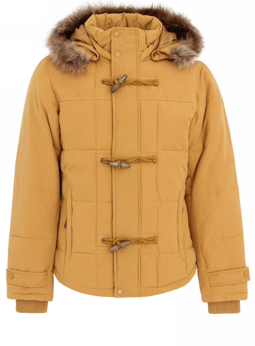Куртка мужская oodji Lab, цвет: горчичный. 1L102025M/34874N/5700N. Размер XL-182 (56-182)1L102025M/34874N/5700NМужская куртка oodji Lab выполнена из высококачественного материала. В качестве подкладки и утеплителя используется полиэстер. Модель застегивается на застежку-молнию и дополнительно ветрозащитным клапаном на кнопки и пуговицы. Съемный капюшон дополнен мехом. Рукава имеют внутренние эластичные манжеты. Спереди расположено два прорезных кармана на застежках-молниях.