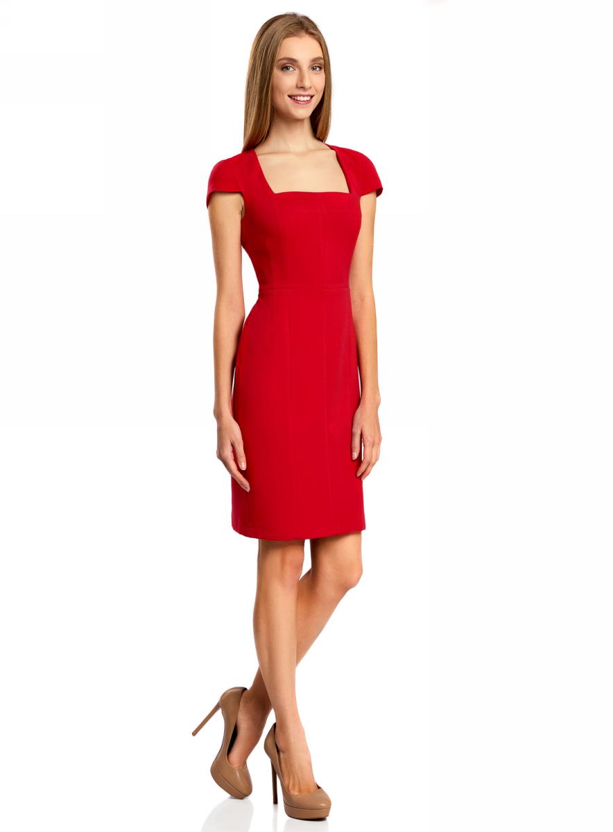 все цены на  Платье oodji Collection, цвет: красный. 21902065/31291/4500N. Размер 42-170 (48-170)  онлайн