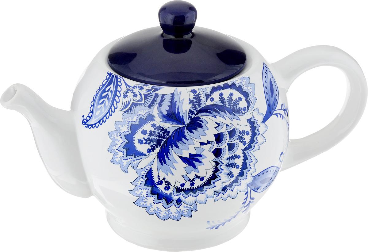 Чайник заварочный Loraine, 930 мл. 2482324823Заварочный чайник Loraine изготовлен из высококачественного доломита с глазурованным покрытием и оформлен оригинальным рисунком. Гладкая и идеально ровная поверхность обеспечивает легкую очистку.Чайник поможет заварить крепкий ароматный чай и великолепно украсит стол к чаепитию. Можно использовать в микроволновой печи и мыть в посудомоечной машине.Диаметр чайника (по верхнему краю): 7 см. Высота чайника (без учета крышки): 11 см.