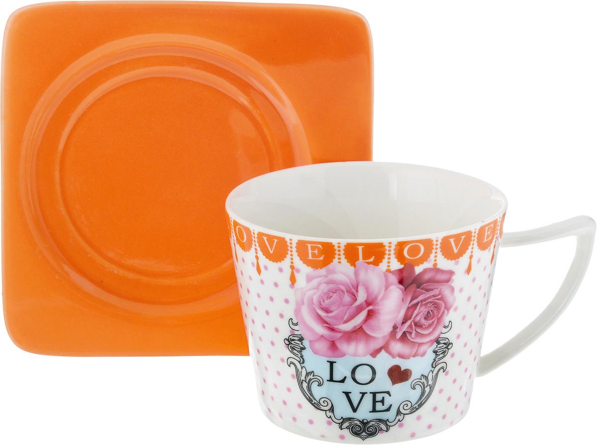 Чайная пара Loraine, цвет: белый, розовый, оранжевый, 2 предмета24710Чайная пара Loraine, выполненная из керамики, состоит из чашки и блюдца. Чашка оформлена ярким изображением и надписью Love. Изящный дизайн и красочность оформления придутся по вкусу и ценителям классики, и тем, кто предпочитает современный стиль.Чайный набор - идеальный и необходимый подарок для вашего дома и для ваших друзей в праздники, юбилеи и торжества! Он также станет отличным корпоративным подарком и украшением любой кухни. Чайная пара упакована в подарочную коробку из плотного цветного картона. Внутренняя часть коробки задрапирована белым атласом.Диаметр чашки: 8,5 см.Высота чашки: 6,5 см.Объем чашки: 230 мл. Размеры блюдца: 12 х 12 х 1,5 см.