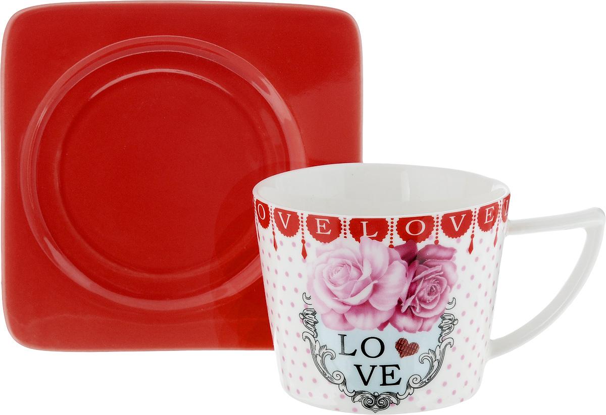 Чайная пара Loraine, цвет: белый, розовый, красный, 2 предмета24708Чайная пара Loraine, выполненная из керамики, состоит из чашки и блюдца. Чашка оформлена ярким изображением и надписью Love. Изящный дизайн и красочность оформления придутся по вкусу и ценителям классики, и тем, кто предпочитает современный стиль.Чайный набор - идеальный и необходимый подарок для вашего дома и для ваших друзей в праздники, юбилеи и торжества! Он также станет отличным корпоративным подарком и украшением любой кухни. Чайная пара упакована в подарочную коробку из плотного цветного картона. Внутренняя часть коробки задрапирована белым атласом.Диаметр чашки: 8,5 см.Высота чашки: 6,5 см.Объем чашки: 230 мл. Размеры блюдца: 12 х 12 х 1,5 см.