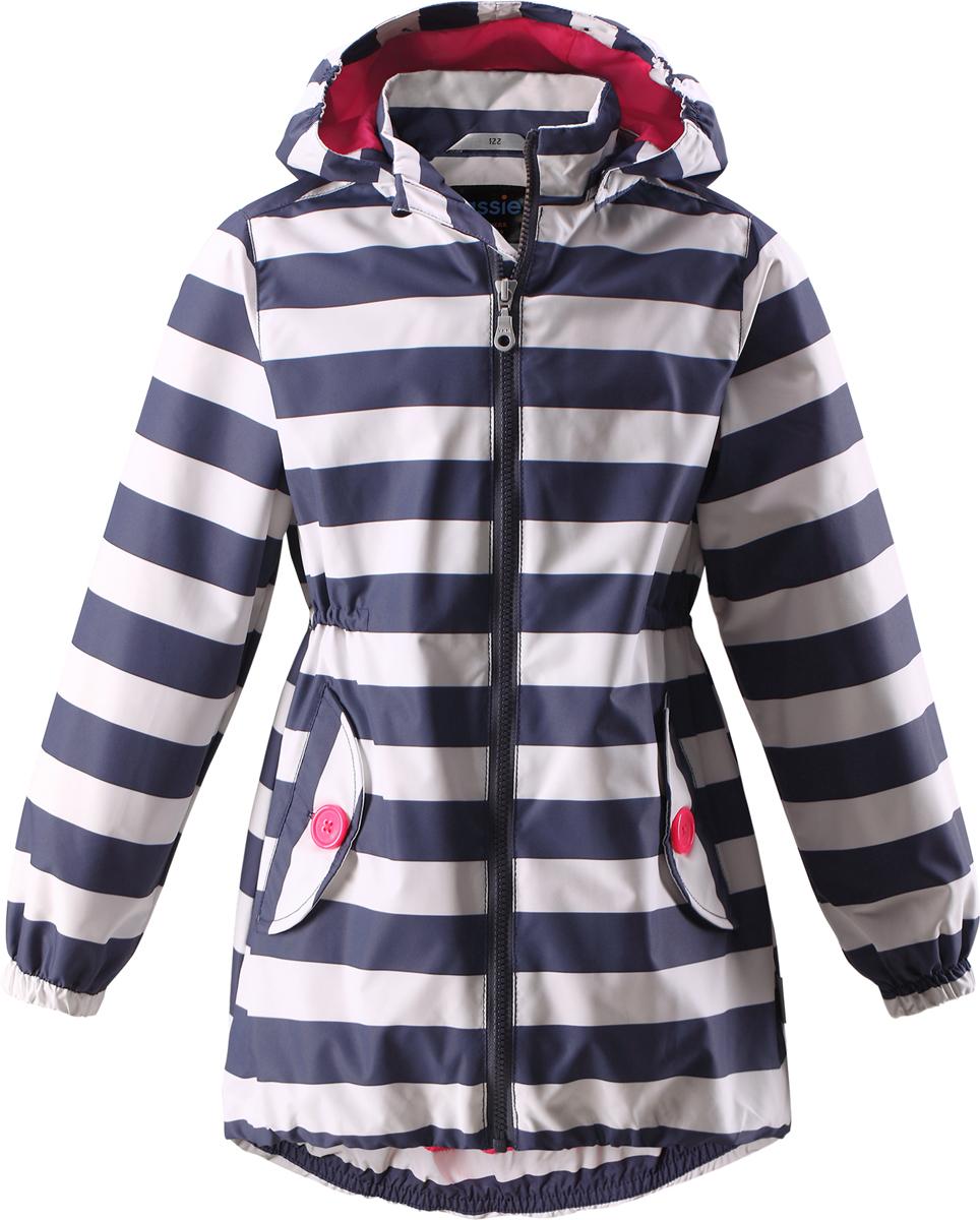 Куртка для девочки Lassie, цвет: темно-синий, белый. 721706R963. Размер 92721706R963Легкая и удобная куртка для девочек на весенне-осенний период. Она изготовлена из водоотталкивающего и ветронепроницаемого материала, но при этом хорошо дышит. Куртка снабжена дышащей и приятной на ощупь сетчатой подкладкой, которая облегчает надевание. Съемный капюшон обеспечивает защиту от холодного ветра, а также безопасен во время игр на свежем воздухе! Благодаря эластичной талии и эластичному подолу эта удлиненная модель для девочек отлично сидит по фигуре. Снабжена множеством продуманных деталей, например двумя карманами с клапанами, эластичными манжетами и молнией во всю длину с защитой для подбородка.
