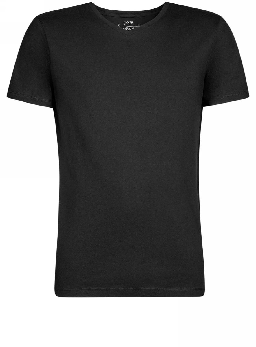 Футболка мужская oodji Basic, цвет: черный. 5B612001M/44135N/2900N. Размер XL (56)5B612001M/44135N/2900NБазовая футболка с V-образным вырезом горловины и короткими рукавами выполнена из натурального хлопка.
