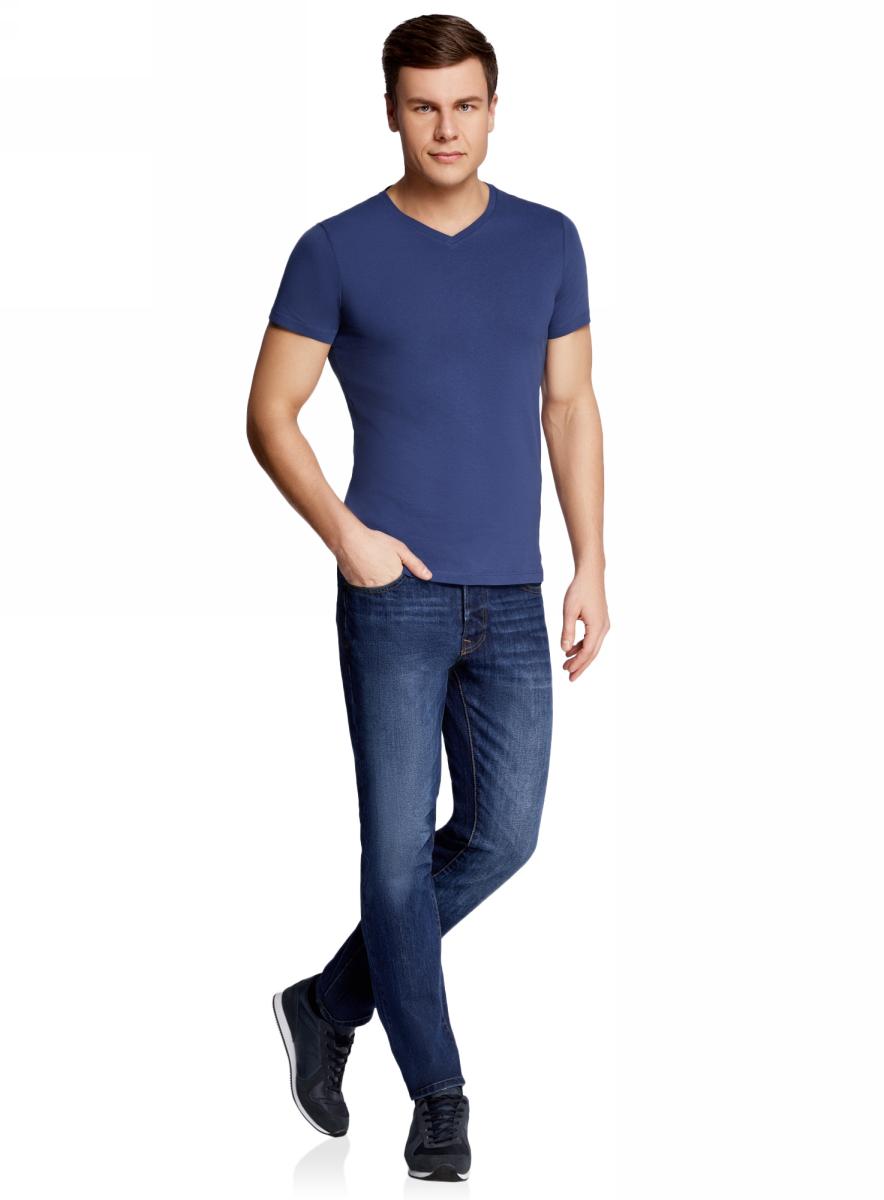 Футболка мужская oodji Basic, цвет: синий. 5B612001M/44135N/7500N. Размер XL (56)5B612001M/44135N/7500NБазовая футболка с V-образным вырезом горловины и короткими рукавами выполнена из натурального хлопка.