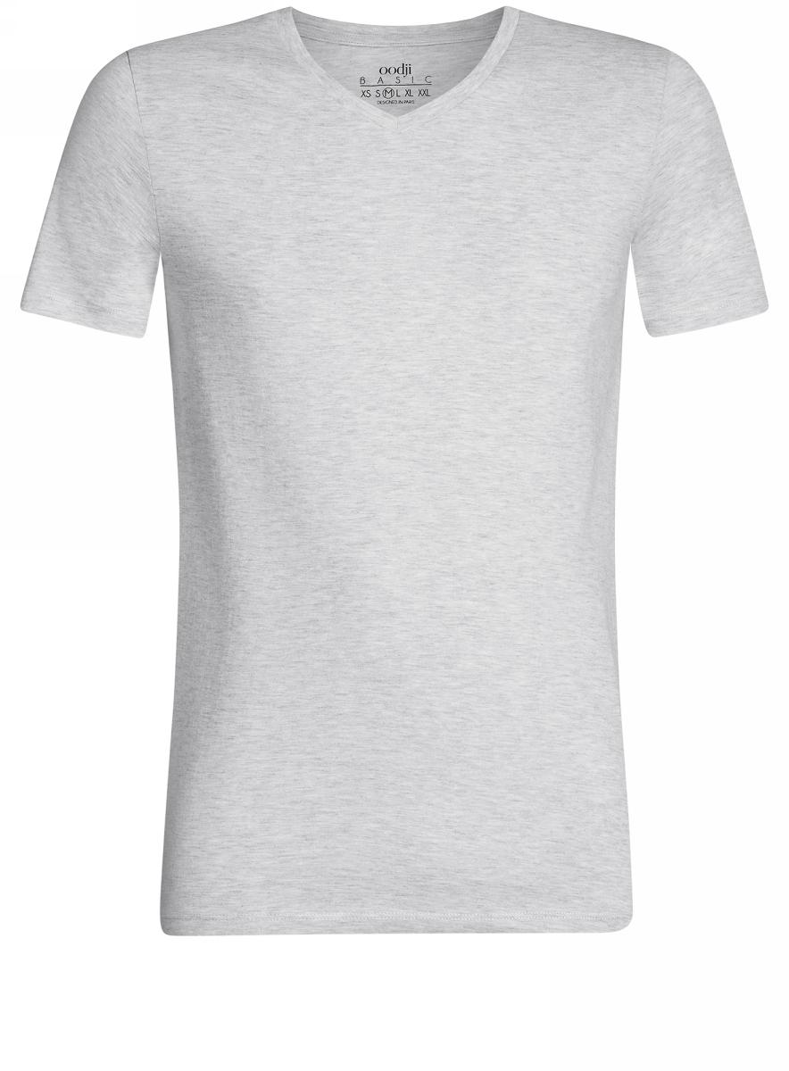 Футболка мужская oodji Basic, цвет: светло-серый меланж. 5B612001M/39272N/2000M. Размер S (46/48)5B612001M/39272N/2000MБазовая футболка с V-образным вырезом горловины и короткими рукавами выполнена из натурального хлопка с добавлением вискозы.