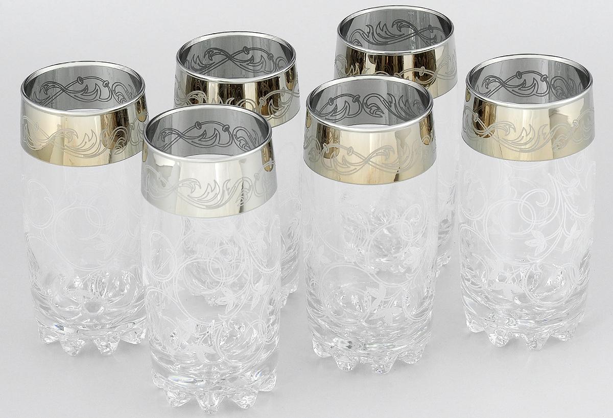 Набор стаканов Гусь-Хрустальный Шарм, 390 мл, 6 шт812/04Набор Гусь-Хрустальный Шарм состоит из 6 высоких стаканов, изготовленных из высококачественного натрий-кальций-силикатного стекла. Изделия оформлены красивым зеркальным покрытием и широкой окантовкой с оригинальным узором. Стаканы предназначены для подачи сока, а также воды и коктейлей. Такой набор прекрасно дополнит праздничный стол и станет желанным подарком в любом доме. Разрешается мыть в посудомоечной машине. Диаметр стакана (по верхнему краю): 6 см. Высота стакана: 14,5 см.