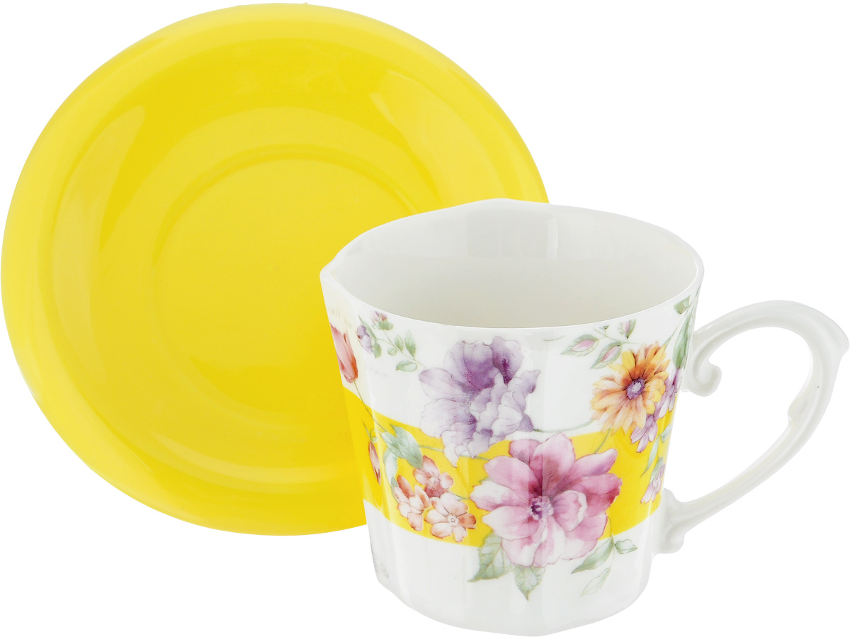 Чайная пара Loraine I Love you, 230 мл, 2 пердмета24714Чайная пара Loraine I Love you, выполненная из керамики, состоит из одной чашки и блюдца. Предметы набора оформлены ярким изображением цветов. Изящный дизайн и красочность оформления придутся по вкусу и ценителям классики, и тем, кто предпочитает утонченность и изысканность. Чайная пара - идеальный и необходимый подарок для вашего дома и для ваших друзей в праздники, юбилеи и торжества! Он также станет отличным корпоративным подарком и украшением любой кухни. Чайный набор упакован в подарочную коробку из плотного цветного картона. Внутренняя часть коробки задрапирована белым атласом.Диаметр чашки (по верхнему краю): 8,5 см.Высота чашки: 8 см.Диаметр блюдца: 14 см.Высота блюдца: 1,5 см.