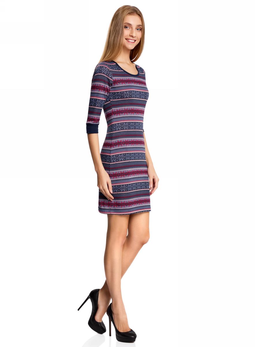Платье oodji Ultra, цвет: темно-синий, красный. 14001064-3/35468/7945J. Размер XXS (40-170)