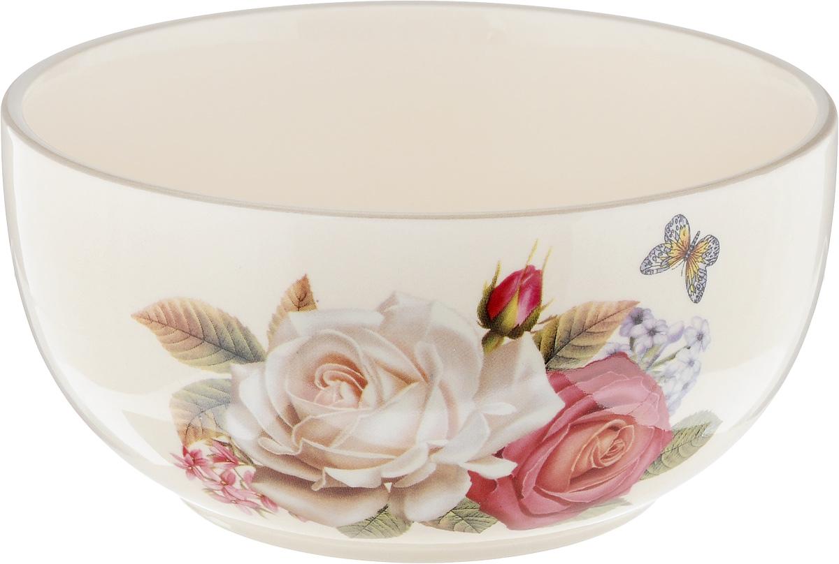 Чаша Loraine Розы, цвет: кремовый, 600 мл21705Чаша Loraine Розы изготовлена из высококачественного доломита с глазурованным покрытием. Диаметр чаши (по верхнему краю): 13 см.Высота стенок: 6,5 см.