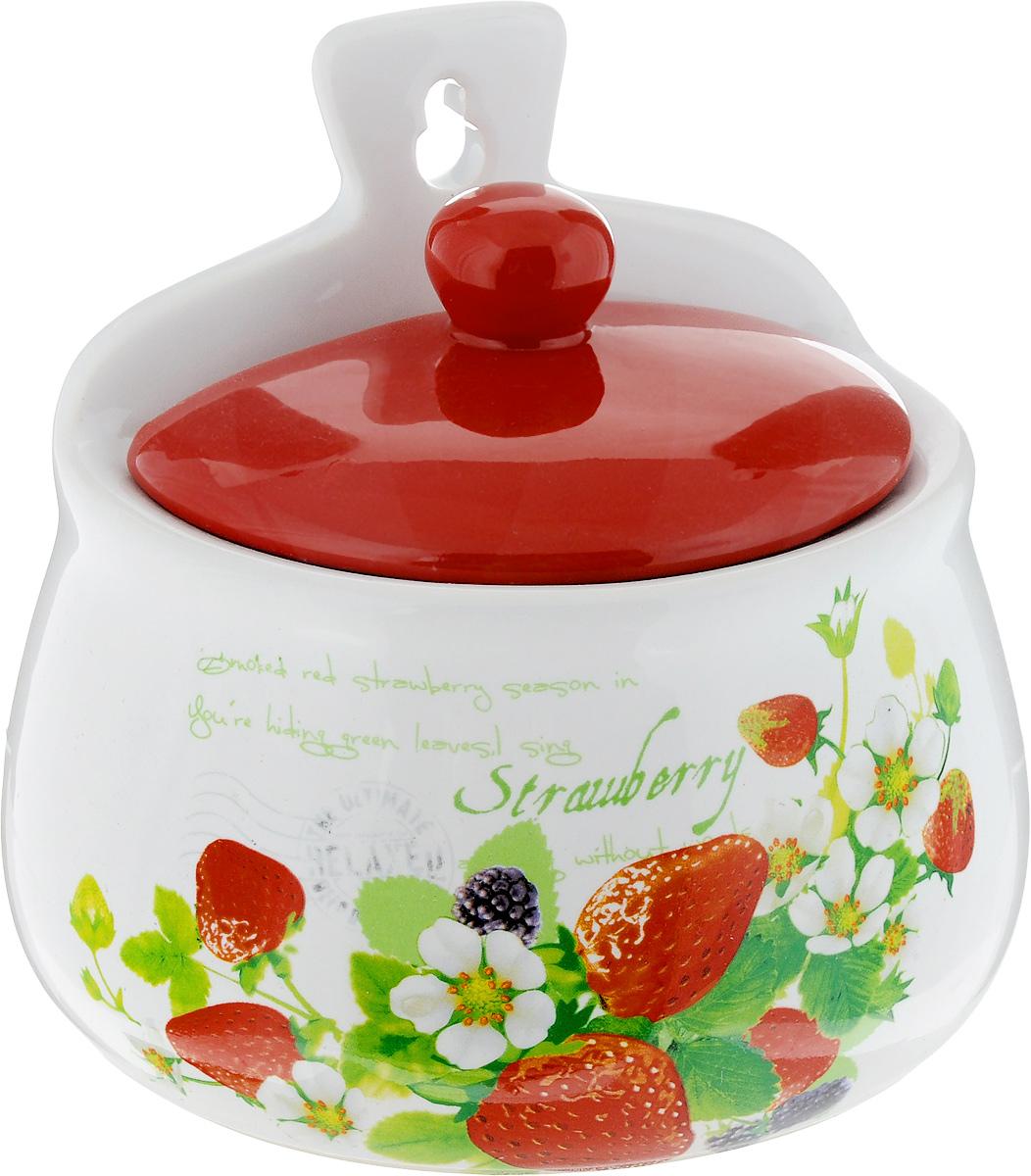 Сахарница Loraine, настенная, цвет: белый, красный, 350 мл сахарница loraine пионы с ложкой 375 мл