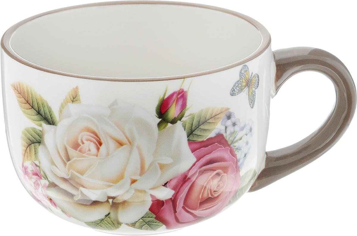 Чашка Loraine Розы и бабочка, 350 мл21694Удобная чашка Loraine Розы и бабочка предназначена для повседневного использования. Она выполнена из высококачественной керамики. Природные свойства этого материала позволяют долго сохранять температуру напитка. Внешние стенки чашки оформлены цветочным рисунком.Можно мыть в посудомоечной машине и использовать в микроволновой печи.Диаметр чашки (по верхнему краю): 12 см.Высота чашки: 8 см.