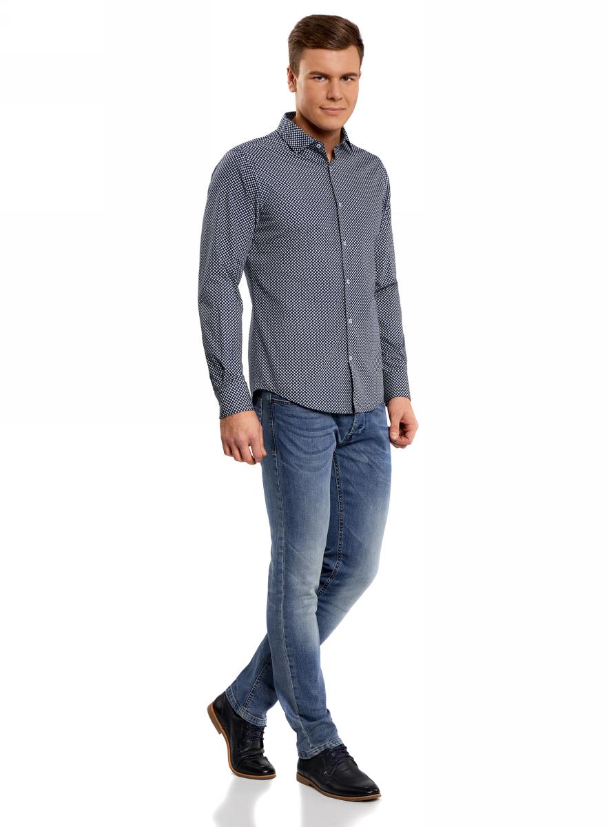 Рубашка мужская oodji Lab, цвет: индиго, белый. 3L110129M/19370N/7810G. Размер 43-182 (54-182)3L110129M/19370N/7810GМужская рубашка от oodji выполнена из натурального хлопка. Модель с длинными рукавами и отложным воротником застегивается на пуговицы.